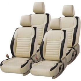 Toyota Etios Cross Car leatherite Seat Cover (1001) Beige And Black