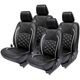 Chevrolet Spark Car leatherite Seat Cover (1002) Black And Silver