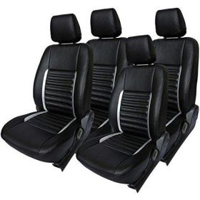 Renault Pulse Car leatherite Seat Cover (1003) Black And Silver