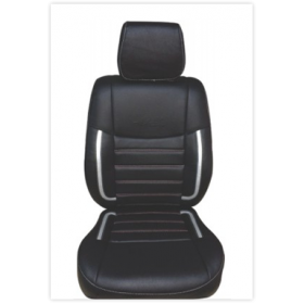 Toyota Etios Car leatherite Seat Cover (1008) Black And Silver