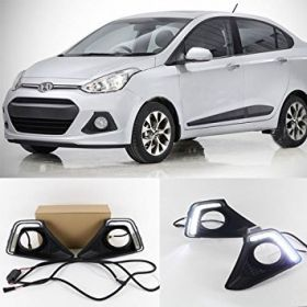 Autoxygen Car Fog Lamp LED Reflector Day Time Running Light Hyundai I10 Grand  - Set of 2 Pcs
