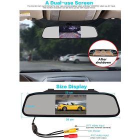 Car 4.3 inch Rear View Full HD Mirror Monitor Screen And 8 LED Night Vision Waterproof Reserve Parking Camera