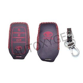 Toyota Fortuner New 3 Button Push Button Start Car Leather Remote Key Cover (Color May Vary)