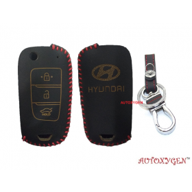 Hyundai Verna 2017 Onwards 3 Button Flip Key Only Car Leather Remote Key Cover (Color May Vary)