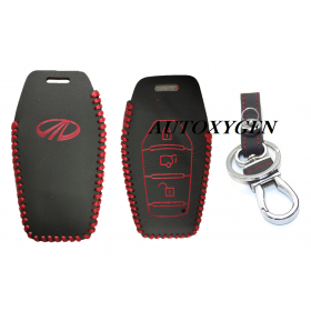 Autoxygen Leather Remote Key Cover For Mahindra XUV 500 3 Button Push Button Start (Color May Vary)