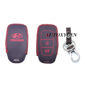 Autoxygen Leather Remote Key Cover For Hyundai Verna 2017 Onwards 3 Button Push button Start (Color May Vary)