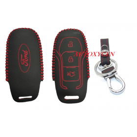 Autoxygen Leather Remote Key Cover For Ford Figo/Aspire/Endeavour 3 Button Push Button Start (Color May Vary)