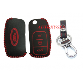 Ford Ecosport/New Fiesta Leather Remote Key Cover 3 Button Flip Key Only (Color May Vary)