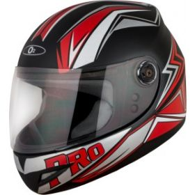 O2 Max Pro Helmet Black And Red With Clear Poly Carbonate Visor (M-580mm)