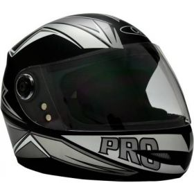 O2 Max Pro Helmet Black And Silver With Clear Poly Carbonate Visor (M-580mm)