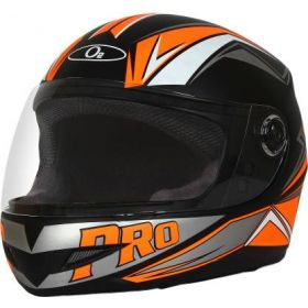 O2 Max Pro Helmet Black And Orange With Clear Poly Carbonate Visor (M-580mm)