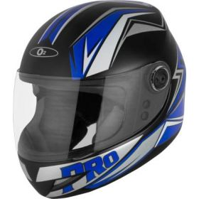 O2 Max Pro Helmet Black And Blue With Clear Poly Carbonate Visor (M-580mm)