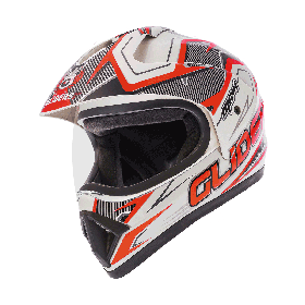 Gliders MC-1 Motocross Helmet D1 White And Red (XL-600mm)