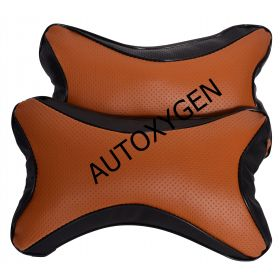 Car Head And Neck Rest Cushion Pillow_1 Tan And Black - Set Of 2 Pcs