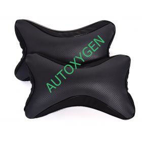 Car Head And Neck Rest Cushion Pillow_1 Grey And Black - Set Of 2 Pcs
