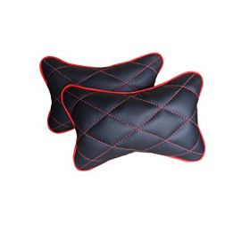 Car Head And Neck Rest Cushion Pillow_2 Black And Red - Set Of 2 Pcs