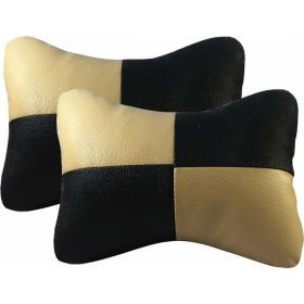Car Head And Neck Rest Cushion Pillow_3 Black And Beige - Set Of 2 Pcs
