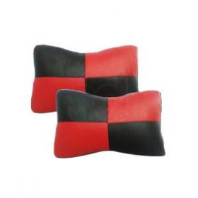Car Head And Neck Rest Cushion Pillow_3 Black And Red- Set Of 2 Pcs