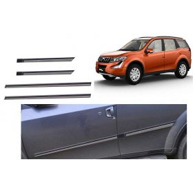 Mahindra XUV 500 Premium Quality Side Door Beading Black Door Protector With Single Chrome Strip (Set Of 4 Pcs.)