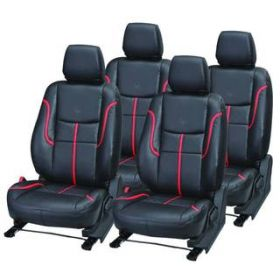 Tata Tiago Car leatherite Seat Cover (1004) Black And Red
