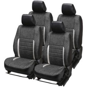 Chevrolet Beat Car leatherite Jute Seat Cover (1006) Grey And Silver