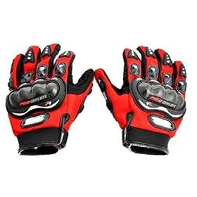 Probiker Leather Motorcycle Riding Gloves (Red, L)