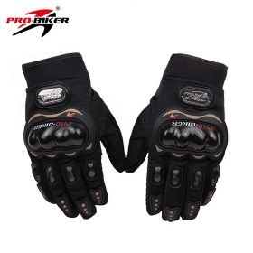 Probiker Leather Motorcycle Gloves (Black, XXL)