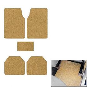 Car Anti Skid Curl Foot Mat Grass Floor Mat Universal - Beige