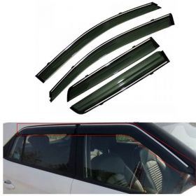 Mahindra Xuv 300 Car Rain Wind Chrome Line Door Visor Side Window Deflector