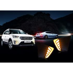 Autoxygen Car Fog Lamp LED Reflector Day Time Running Light_2 For Hyundai Creta - Set of 2 Pcs