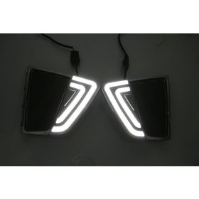 Autoxygen Car Fog Lamp LED Reflector Day Time Running Light_3 For Hyundai Creta - Set of 2 Pcs