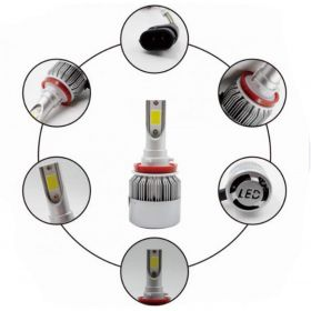 C6-H8/H9/H11 Conversion Kit 36W Car 3800LM 6000K White HID Waterproof LED Headlamp Bulbs (Set of 2)