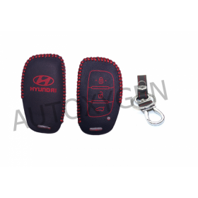 Hyundai Creta/i20 elite, Active/Grand i10/New Verna/Xcent Smart Key for Push Button start only Car Leather Remote Key Cover (Color May Vary)