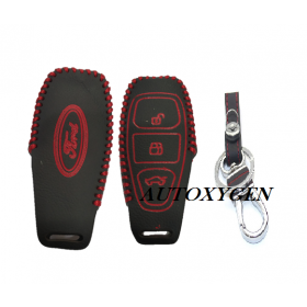 Autoxygen Leather Remote Key Cover For Ford Ecosport 3 Button Push Button Start (Color May Vary)