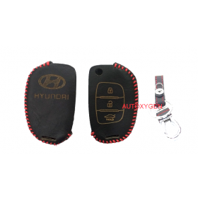 Hyundai I20 Elite/Verna/Fluidic/Xcent 3 Button Flip Key Only Car Leather Remote Key Cover (Color May Vary)