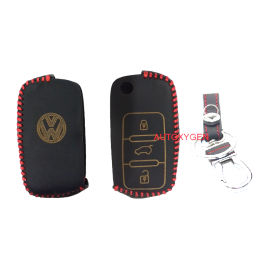 Volkswagen Polo/Vento/Jetta 3 button Flip Key  Car Leather Remote Key Cover (Color May Vary)