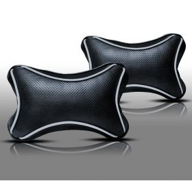 Car Head And Neck Rest Cushion Pillow_1 Black And Silver - Set Of 2 Pcs