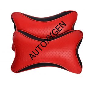 Car Head And Neck Rest Cushion Pillow_1 Red And Black - Set Of 2 Pcs