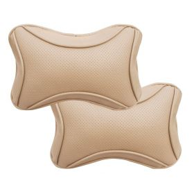 Car Head And Neck Rest Cushion Pillow_1 Beige - Set Of 2 Pcs
