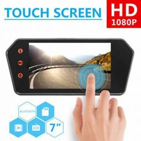 Car 7 inch Rear View Mirror LED BT/USB/SD Touch Screen + 8 LED Reserve Parking Camera
