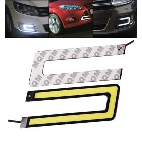 Autoxygen Car U Shape Cob LED DRL Day Time Running Light Water Proof White Fog Light - Set of 2 Pcs.